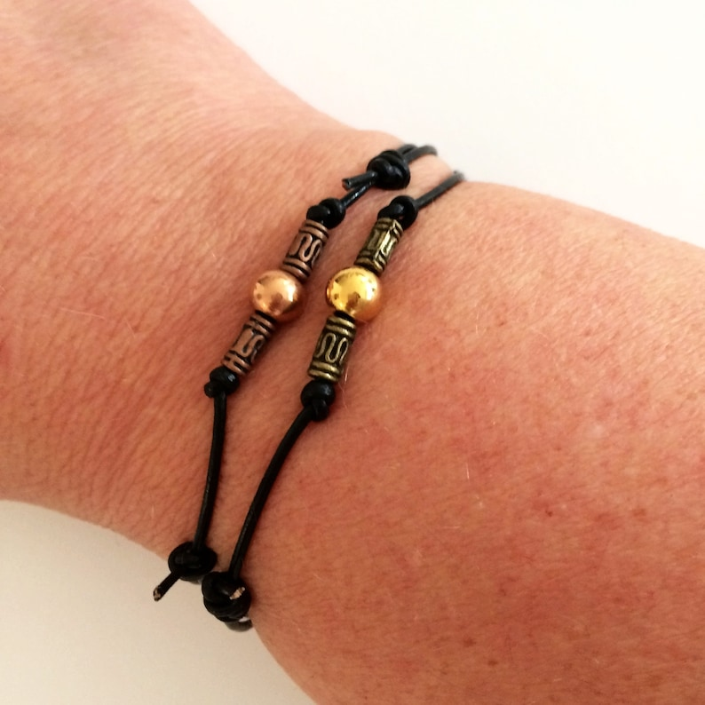 copper golden beads mens jewelry simple euro chic fashion black leather Bracelet for him or her adjustable bracelets unisex gift idea
