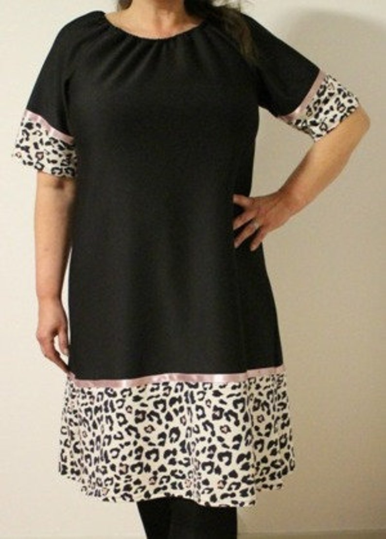 b62c0d2cdeb Black tunic dress sale pink leopard print black and white | Etsy