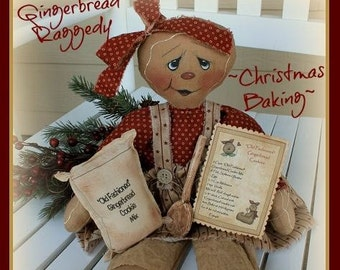 """Primitive cloth doll PATTERN """"Christmas Baking"""" Gingerbread Raggedy"""