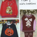 Applique Children PATTERN  Happy Holidays whimsical t-shirt designs Reindeer, Bunny and Pumpkin easy and fun!