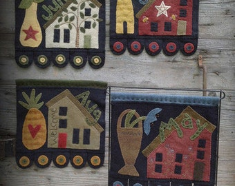 Primitive Wool Applique PATTERN-Salt Box Houses #2-Ready for Spring and Summer, flowers, pineapple and Bee Skeep