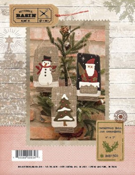 image 0 - Primitive Christmas Ornament PATTERN Christmas Ball Jar Etsy