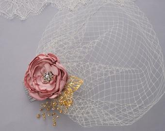 Wedding Veil, Birdcage Veil, Bridal Headpiece, Bridal Hair Flower, Flower Hair Clip, Blusher Veil, Wedding Headpiece