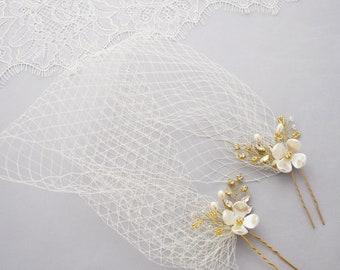 Wedding Veil, Birdcage Veil, Bridal Headpiece, Bandeau veil, Short Veil, Wedding Hair Piece, Blusher veil, Vintage Veil, Veil Headpiece