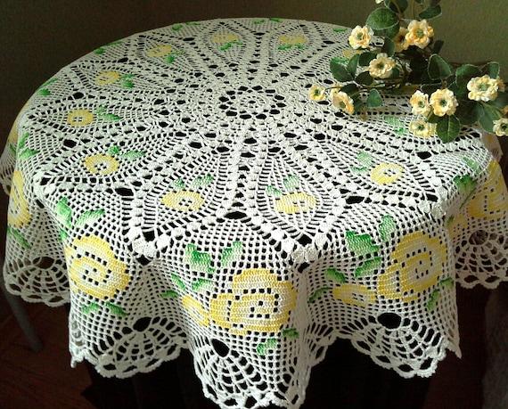 Crocheted Table Topper ~ Vintage ~ Handmade 32 inch Diameter Round