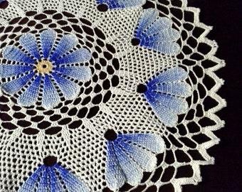 Crochet  doily Orange and blue doily Lace crochet doily Home dekor 2 with 1