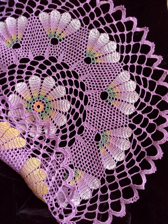 58f1d617b Tapete encaje de croché servilletas de ganchillo tapete lila que tapetitos  de ganchillo redondo tapete mantel tapete hecho a mano pintado a mano 2 en  ...
