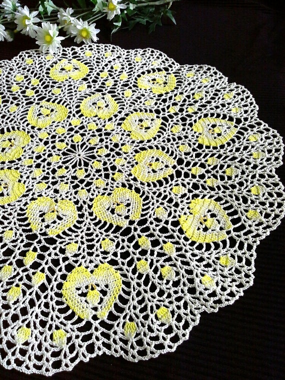 Cream Yellow Crochet Doily Crochet Round Doily Crochet Etsy
