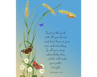 Trust in the Lord with all your heart and don't lean on your own understanding. Proverbs 3: 5-6 Bible Verse Watercolor Painting Bible Art
