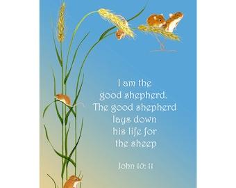 I am the good shepherd. The good shepherd lays down his life for the sheep. John 8: 31-32 Verse Watercolor Painting Art Print Bible Art