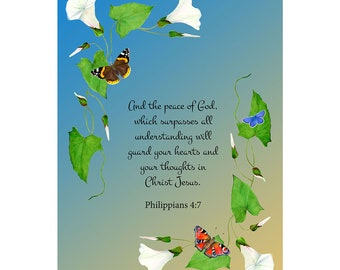 And the peace of God, which surpasses all understanding, will guard your hearts and mind ... Phil 4: 7 Bible Verse Watercolor Painting Art