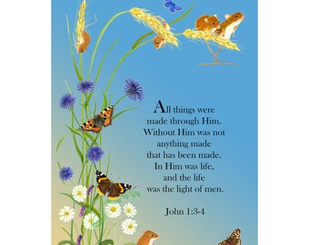 In him was life, and the life was the light of men. John 1: 3-4 Bible Verse Watercolor Painting Art Print Scripture John's Gospel Verse