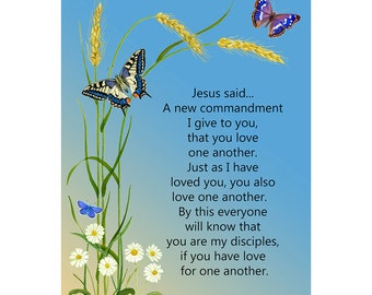 Just as I have loved you, you also love one another John 13: 34-35 Verse Watercolor Painting Print Inspirational Bible Verse Art