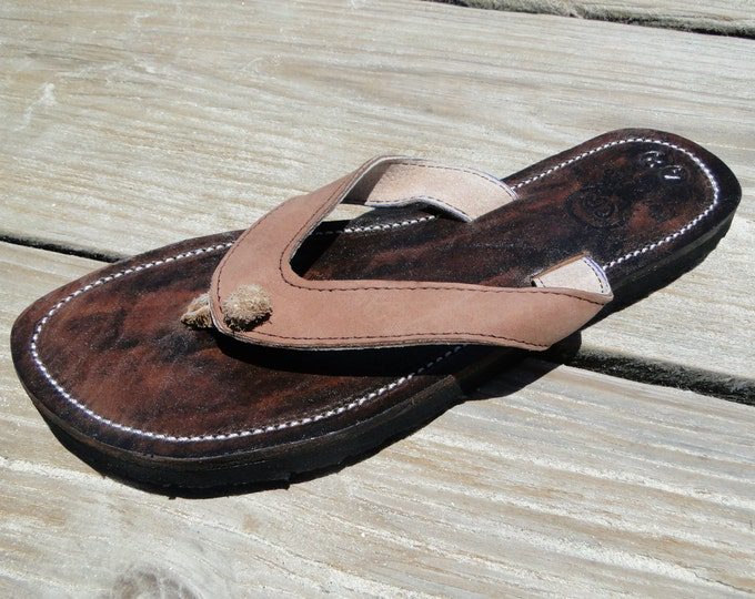 1493c622fc58c5 Rainbow Beaded Leather Sandals from Honduras - Fair Trade - Brown Leather  Beaded Flip Flops  40.00. Handmade Genuine Leather Sandals for Women