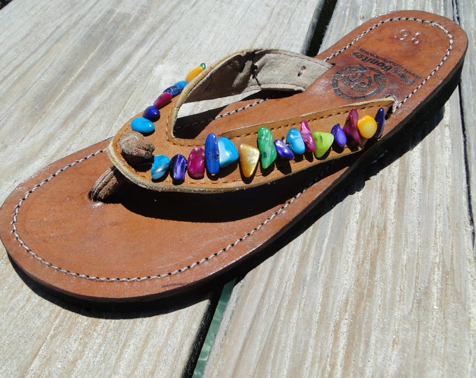 Handcrafted Beaded Leather Sandals from Honduras - Fair Trade - Brown Leather Beaded Flip Flops