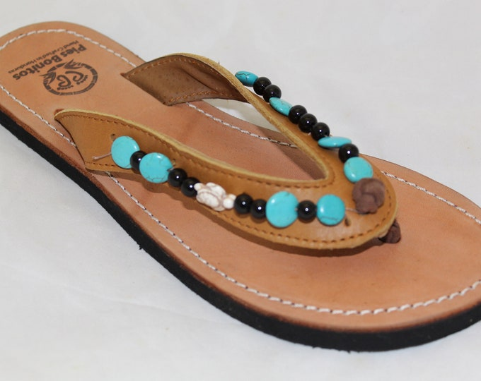 Handcrafted Beaded Leather Sandals - Turquoise and Turtles - Fair Trade - Brown Leather Flip Flop Sandals - From Honduras