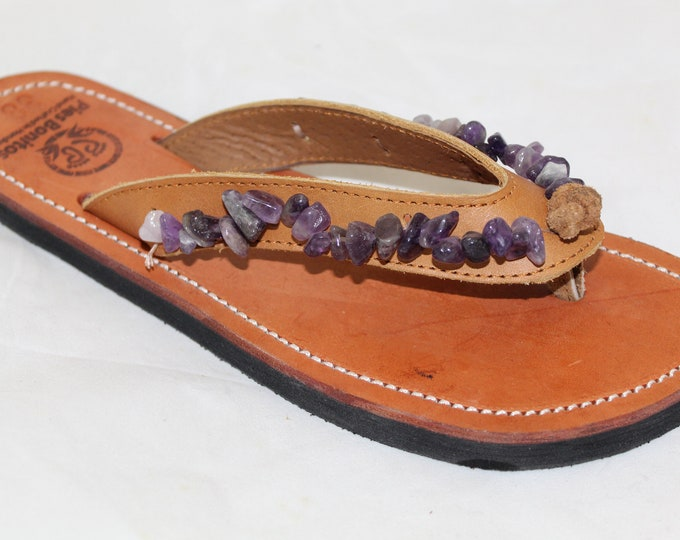 Handcrafted Beaded Leather Sandals - Purple Quartz Stone Beads - Fair Trade - Brown Leather Flip Flop Sandals - From Honduras
