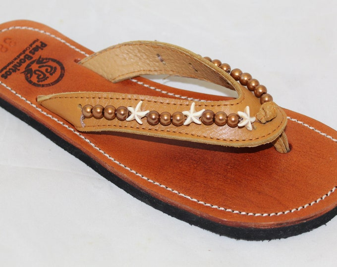 Handcrafted Beaded Leather Sandals - White Sea Star and Bronze Glass Beads - Fair Trade - Brown Leather Flip Flop Sandals - From Honduras