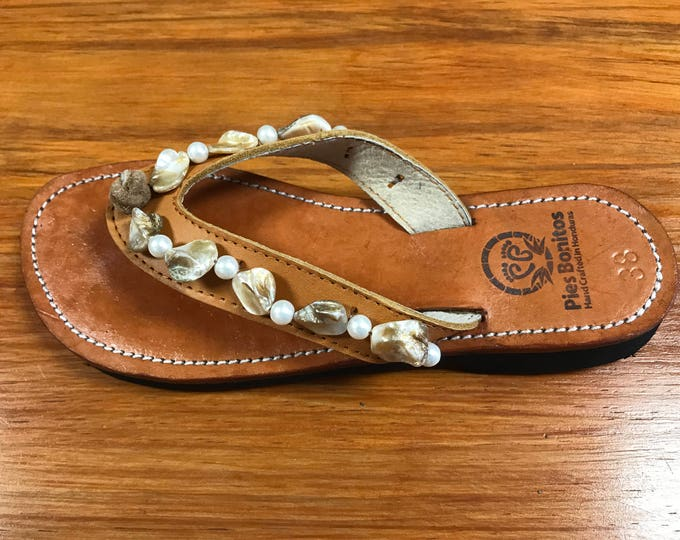 Handcrafted Beaded Leather Sandals - Mother of Pearl and Shell Beads - Fair Trade - Brown Leather Flip Flop Sandals - From Honduras