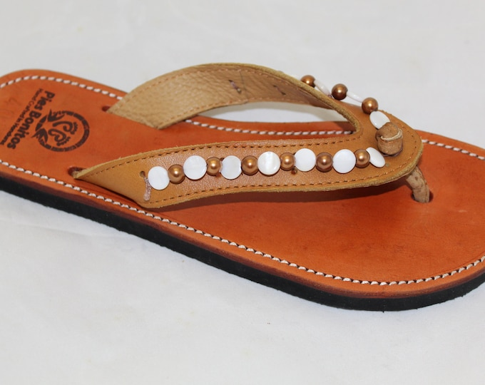 Handcrafted Beaded Leather Sandals - White and Bronze Beads - Fair Trade - Brown Leather Flip Flop Sandals - From Honduras