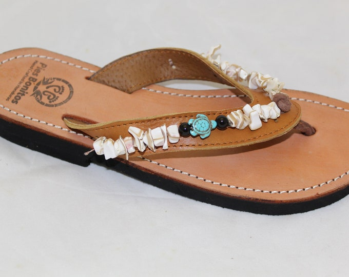 Handcrafted Beaded Leather Sandals - White Shells and Turtles - Fair Trade - Brown Leather Flip Flop Sandals - From Honduras