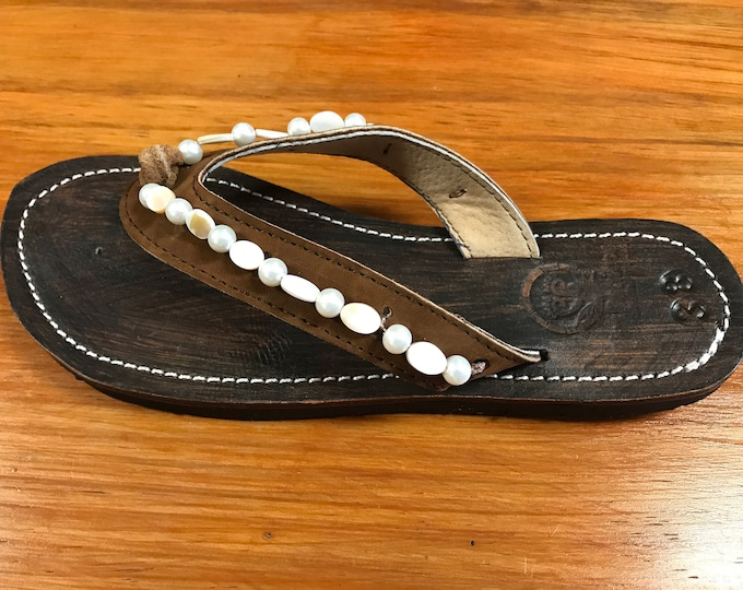 3ac1b28bd753db Beaded Leather Womens Sandals Flip Flops
