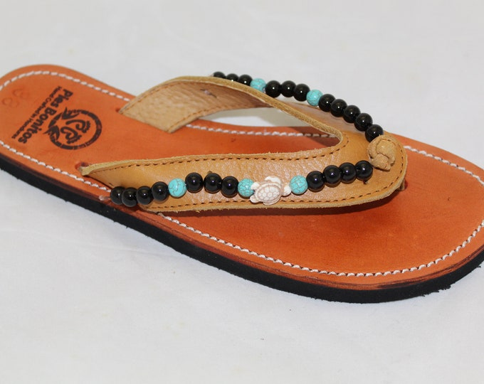Handcrafted Beaded Leather Sandals - Turquoise and Black beads with Turtles - Fair Trade - Brown Leather Flip Flop Sandals - From Honduras