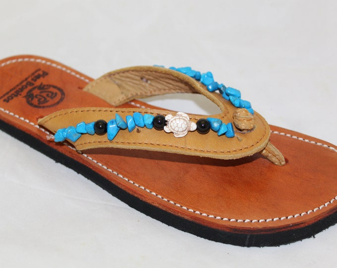 Handcrafted Beaded Leather Sandals - Turquoise and Turtle Beads - Fair Trade - Brown Leather Flip Flop Sandals - From Honduras