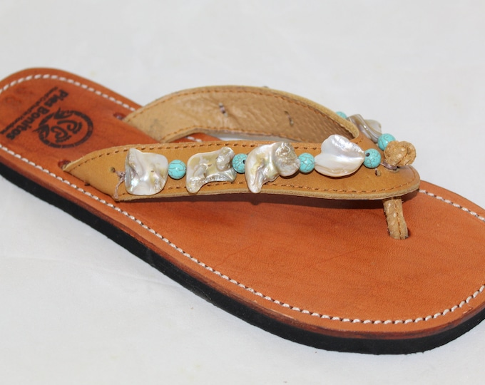 Handcrafted Beaded Leather Sandals - Turquise and Shell Beads - Fair Trade - Brown Leather Flip Flop Sandals - From Honduras