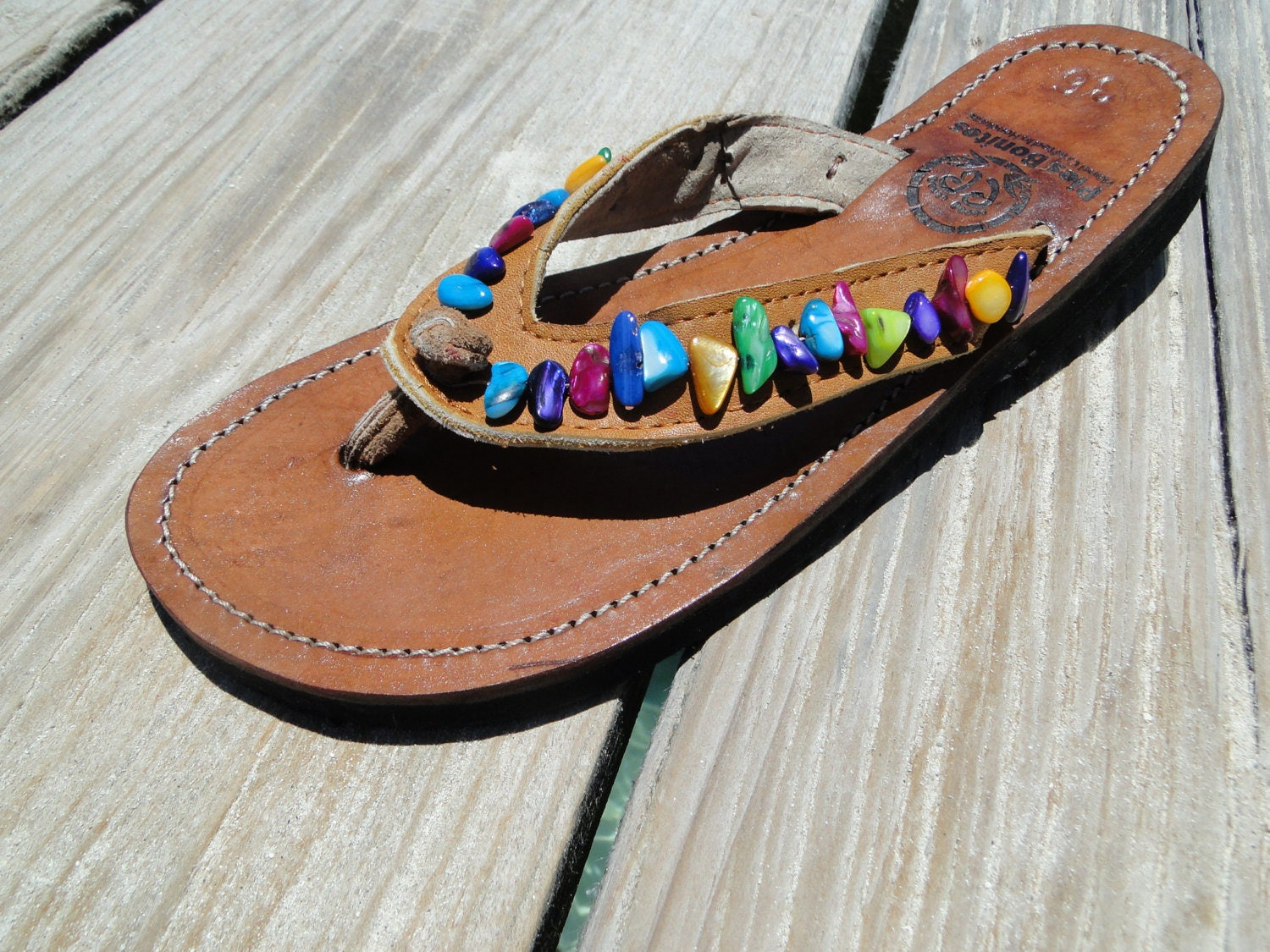 06bf174dc8c604 Rainbow Beaded Leather Sandals from Honduras - Fair Trade - Brown Leather  Beaded Flip Flops. gallery photo ...