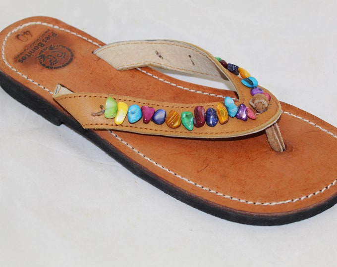 Handcrafted Beaded Leather Sandals - Rainbow Shell Chip Beads - Fair Trade - Brown Leather Flip Flop Sandals - From Honduras