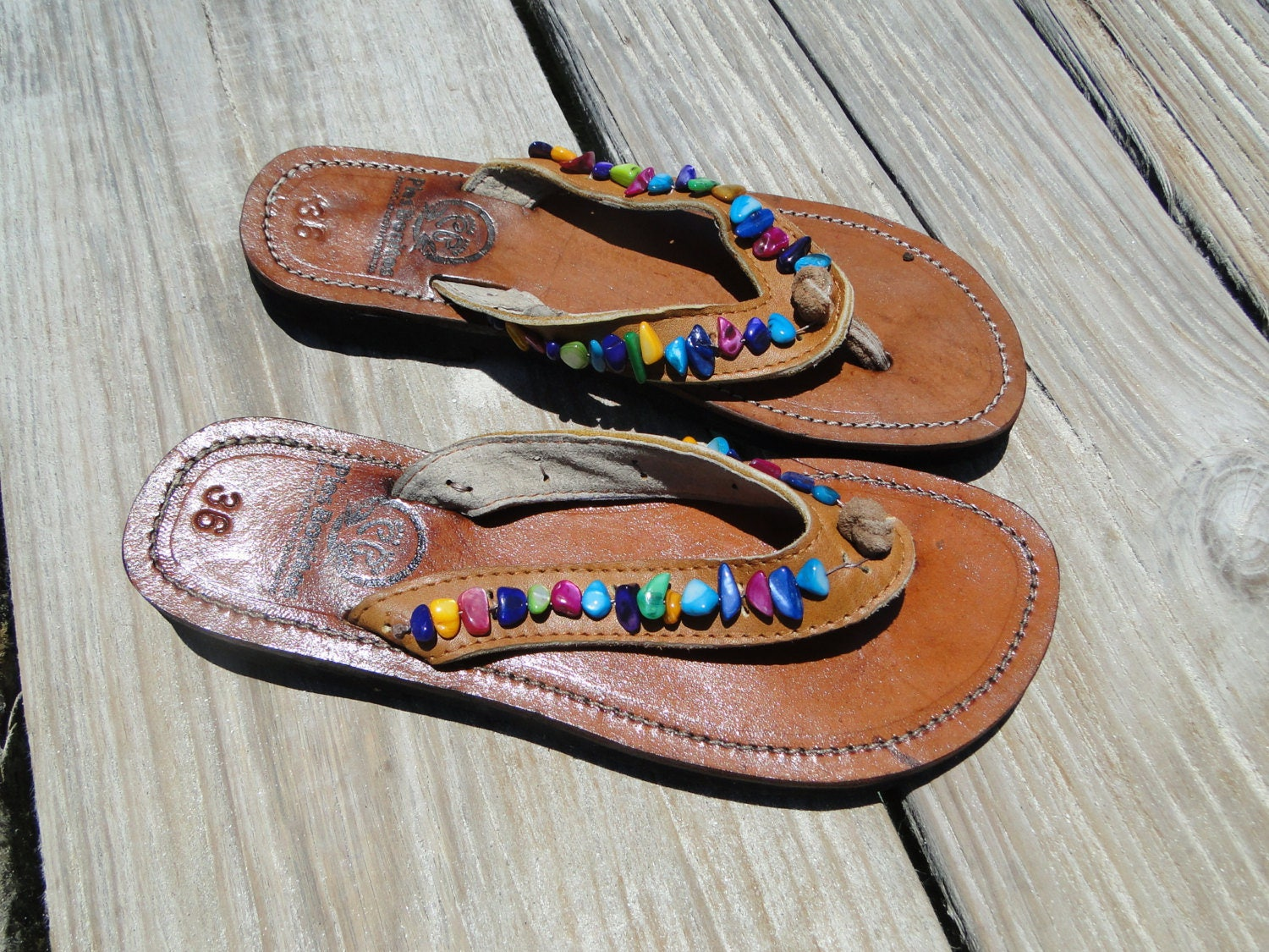 c42623193ff990 Rainbow Beaded Leather Sandals from Honduras - Fair Trade - Brown Leather  Beaded Flip Flops
