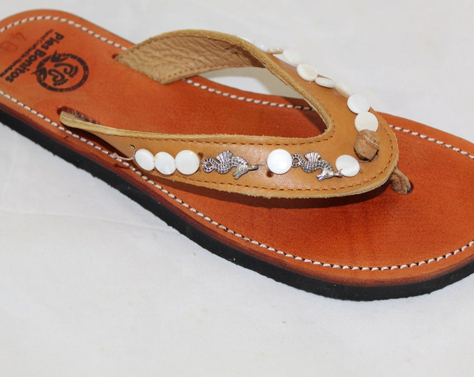 Handcrafted Beaded Leather Sandals - Seahorse and White Disk Beads - Fair Trade - Brown Leather Flip Flop Sandals - From Honduras