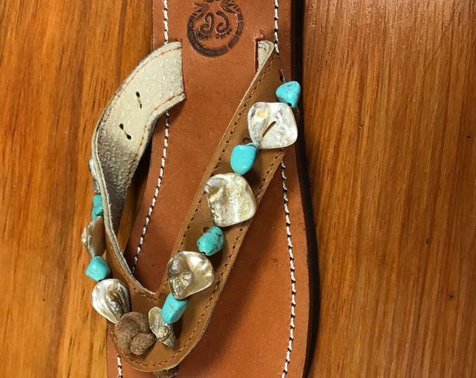 Handcrafted Beaded Leather Sandals - Turquise and Mother of Pearl shell beads - Fair Trade - Brown Leather Flip Flop Sandals - From Honduras