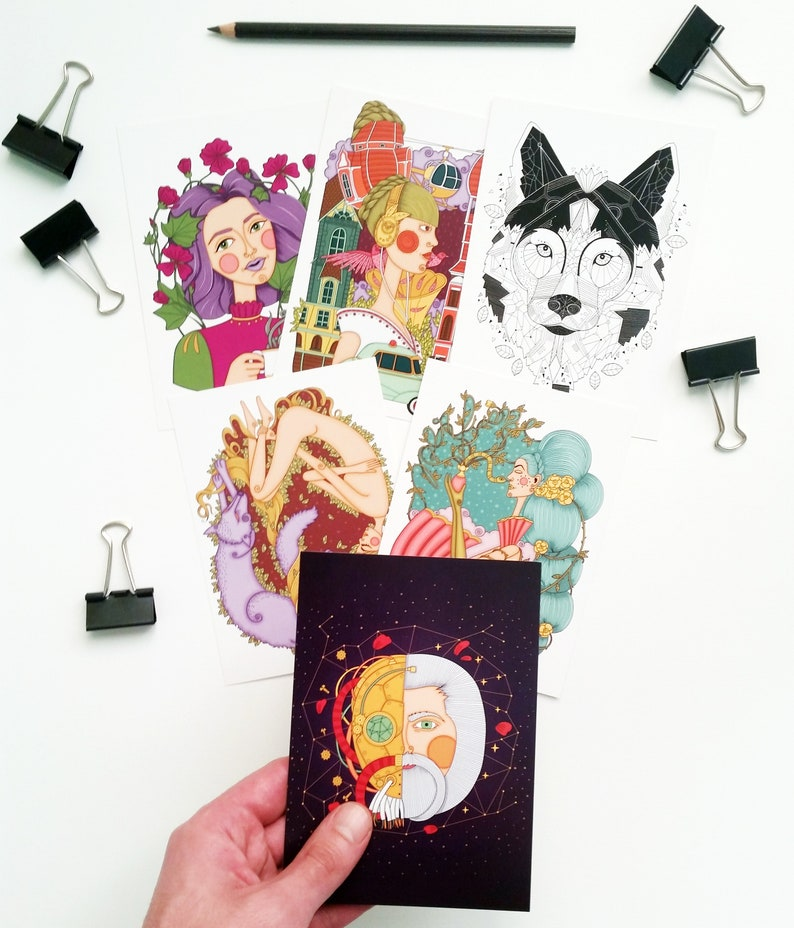 Illustrated postcards set Limited edition image 0