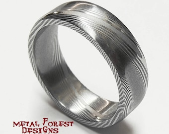 Stainless Damascus Steel Ring, Stainless Steel Wedding Band, Wedding Ring, Damascus Ring