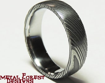 Stainless Damascus Steel Ring with Polished Inside, Stainless Steel Wedding Band, Wedding Ring, Damascus Ring