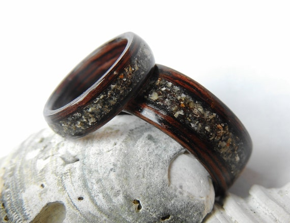 Bentwood Wenge And Beach Sand Wedding Band Set Non Metal Etsy
