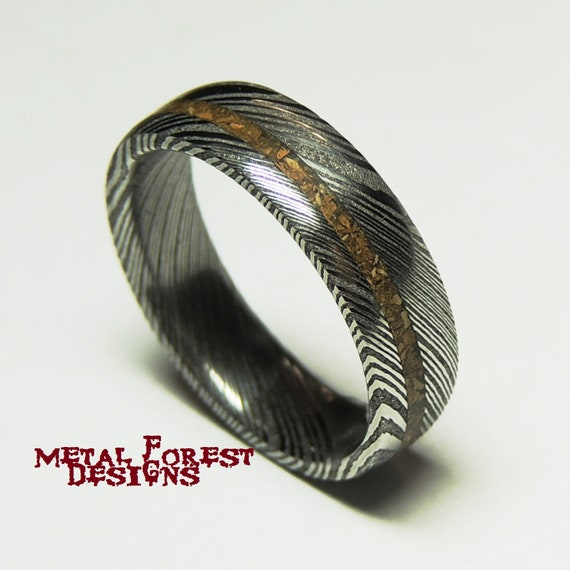 T-Rex and Stainless Damascus Steel Ring Polished Inside Damascus Ring Wedding Ring Dinosaur Bone Ring Stainless Steel Wedding Band
