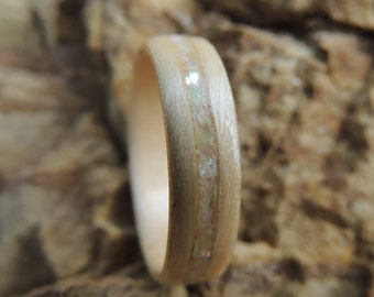 Maple And Abalone Bentwood Ring, Wooden Ring, Wood Jewelry, Wooden Wedding Band