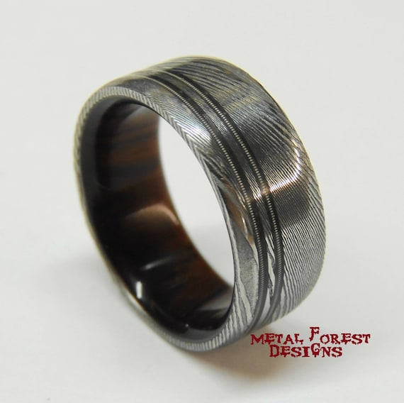 Stainless Damascus Steel Ring With Cocobolo Wood Liner Guitar Etsy
