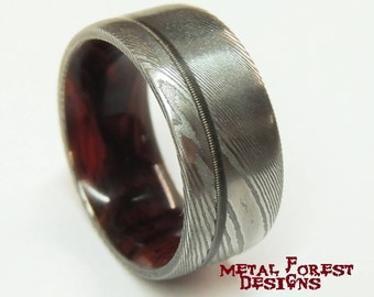 Stainless Damascus Steel Ring with Cocobolo Wood liner Guitar String inlay, Sale, Stainless Steel Wedding Band, Wedding Ring, Damascus Ring