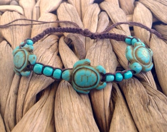Turquoise Sea Turtle Bracelet, Sea Turtle Jewelry, Beachy Jewelry, Tropical, Hemp