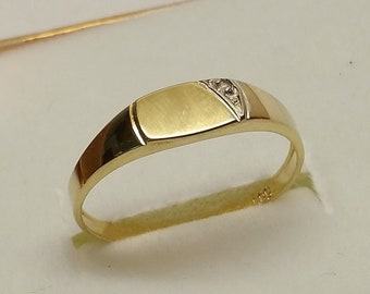 Ring SEAL RING Gold 585 Diamond Stone GR346