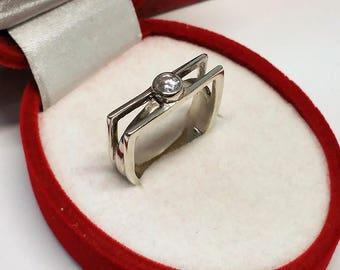 18.4 mm ring 925 Silver crystal design noble SR817