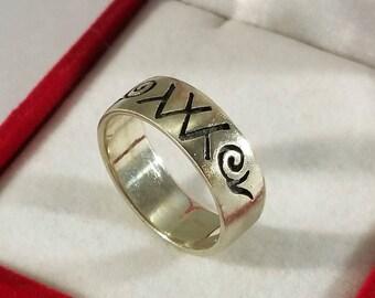 21.5 mm Ring Silver 925 symbols Indians rar SR958