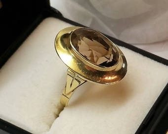 Art Deco ring gold 585 smoky quartz vintage GR218