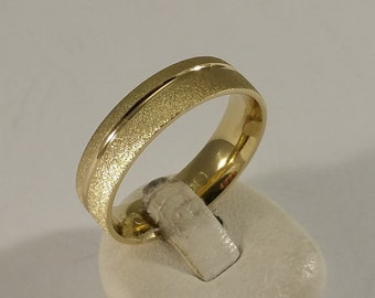20.2 mm Ring Silver 925 gold plated matt/shiny strips stainless SR119