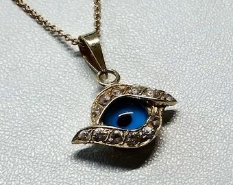 Pendant-gold 585 crystals Nazar eye rare eye of Fatima GA135