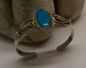 Indian Jewelry bracelet Silver 925 turquoise Feathers Silver Forge SA367